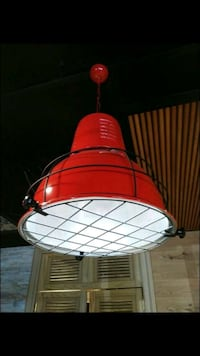 red and white pendant lamp
