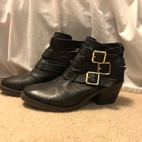 black leather buckled booties Rochester, 14626