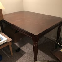 Rectangular brown wooden table with leaf Mc Lean, 22102