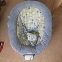 Baby's gray, white , green and blue bouncer