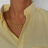 Faux Gold Link Collar Necklace