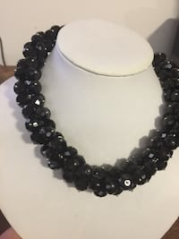 Black crystal necklace. New