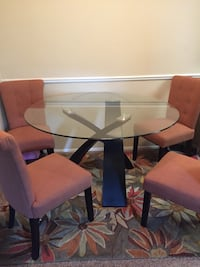 Glass Dining Room table, chairs and Rug