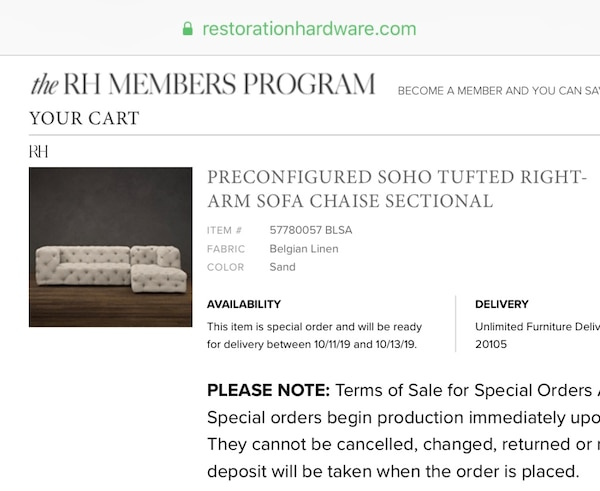 $4350 This weekend only!!-Restoration Hardware Soho Tufted Right Arm Sofa Chaise Sectional 17888d39-13fb-4e7b-94cd-df0ed6ec4242