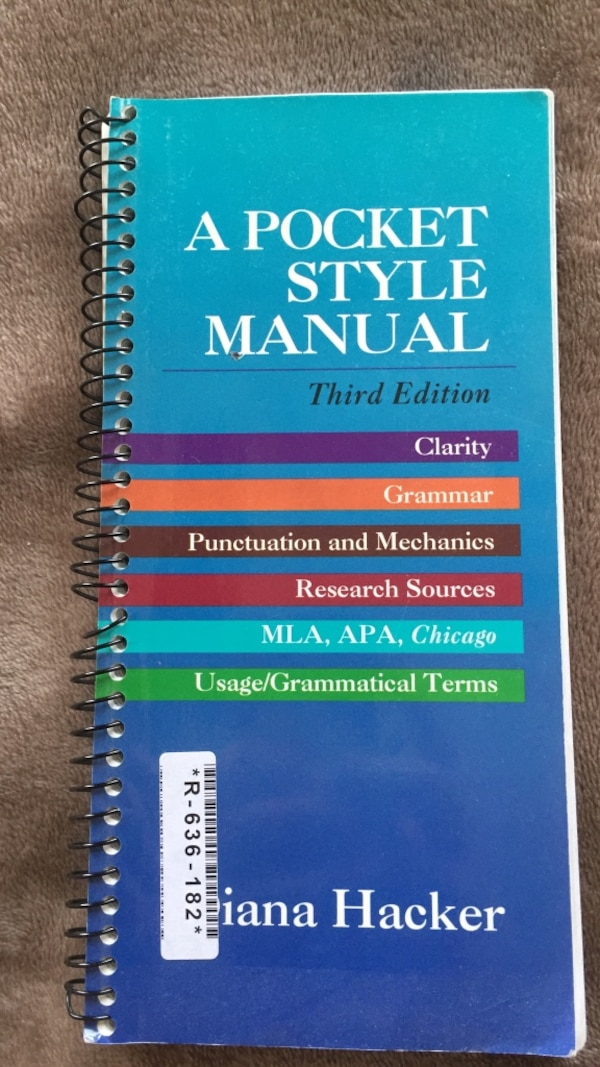 Used A Pocket Style Manual Third Edition For Mla Apa Chicago Style