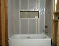 white wooden TV hutch with flat screen television Manassas