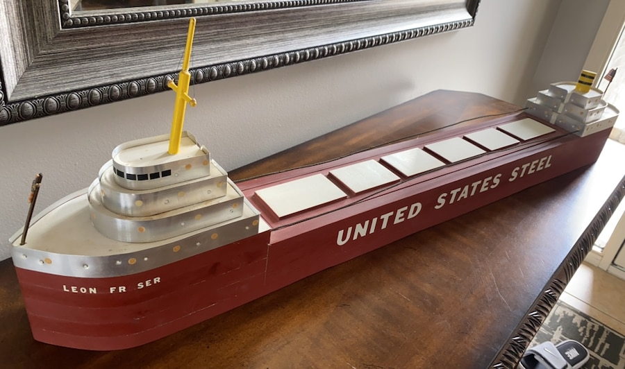 Photo 1960s hand built USA steel Freighter Boat