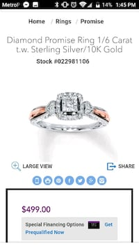 silver and diamond embellished ring Westfield, 01085