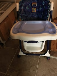 white and blue plastic high chair Washington, 20018