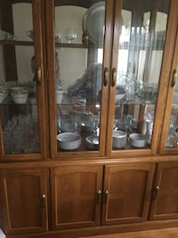Brown wooden framed glass display cabinet Washington