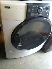 white and gray front-load clothes washer Delta