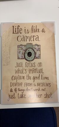 """Life is like a camera..."" wall hanging  Baltimore, 21230"