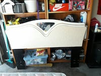 white and brown wooden headboard