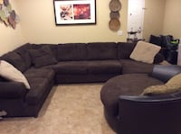 black suede sectional sofa with throw pillows Indio, 92203