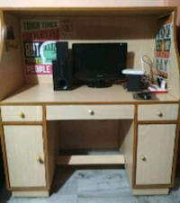 brown and white wooden computer desk with hutch 12814 km