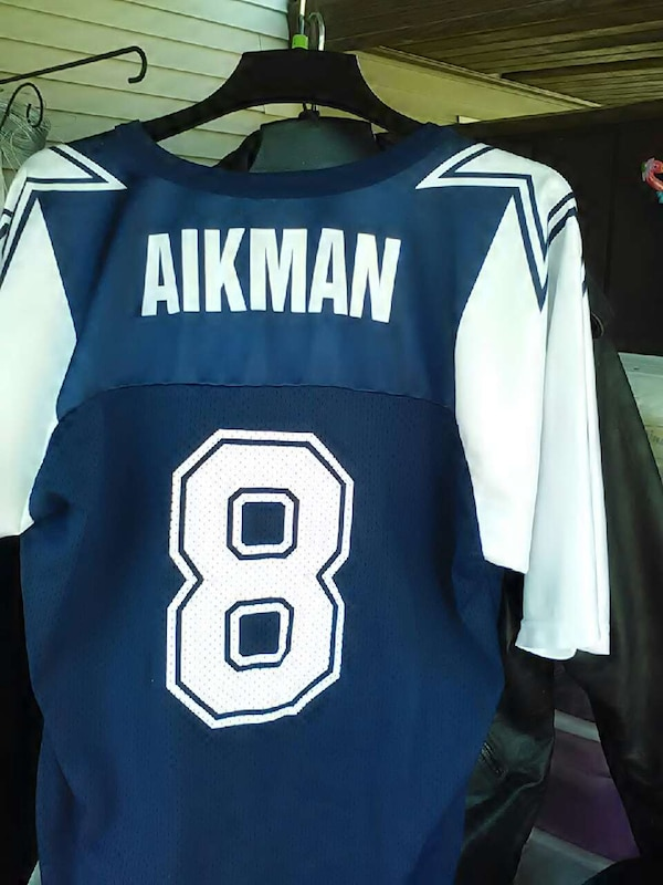 new style 580a2 fd104 blue and white Aikman 8 cowboys jersey