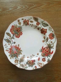white and red floral ceramic plate Campbell
