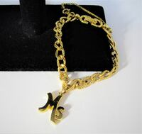 VINTAGE 1970'S MONET CHAIN LINKED GOLD TONE METAL BRACELET