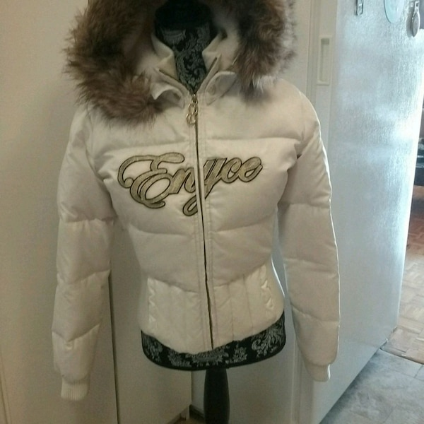 Enyce white bomber jacket, youth sz L, or adult S
