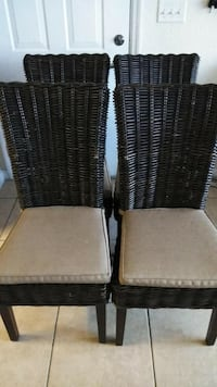 two brown wicker framed white padded chairs Coral Springs, 33071