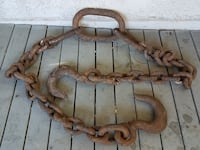 Antique 9ft nautical iron chain with hooks Concord