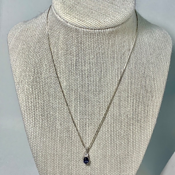Vintage Sterling Silver & Sapphire Pendant with Sterling  Box Chain 154978ad-6430-4bfe-9714-abb7417c4f3f