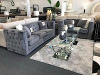 Features gray velvet, tufted back, silver nailhead trim, metal legs, throw pillows and chesterfield design. BRAND NEW!!!  Union, 07083