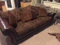 brown leather framed suede 3-seat couch
