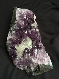 Amethyst with optic calcite (reflects rainbows). 5 inches tall, 5 inches deep, 4 inches wide at base   Washington, 20003