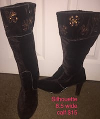 Silhouette velvety boots. 8.5 wide calf