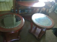 round brown wooden framed glass top side table Turlock, 95380