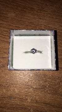 silver and diamond solitaire ring in box Norfolk, 23513