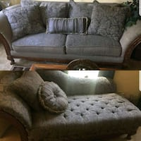 gray and white floral fabric sofa set College Park, 30349