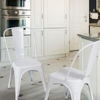 Glossy White Tolix Style Metal Bistro Chairs (Set Of Two) | SKU # 4408 Santa Fe Springs