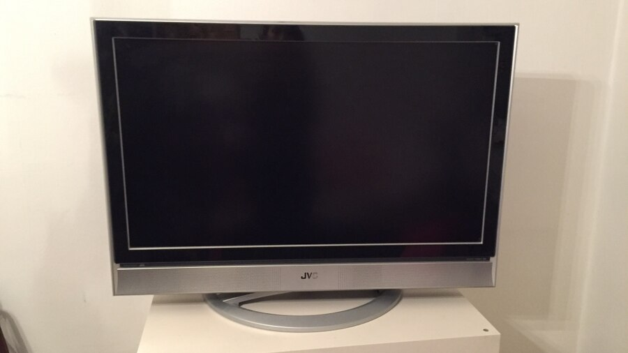Gray jvc flat screen tv