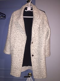 Wool coat white and grey
