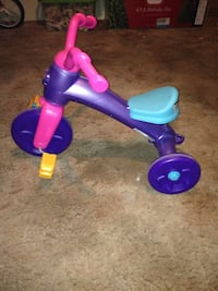 toddler's purple, pink, and blue trike