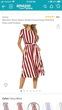 Short sleeve ivory and wine striped casual flowy dress with pockets Ashburn, 20148