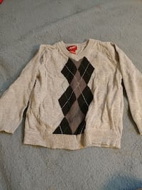 gray, black, and brown v-neck sweater
