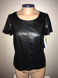 Peter Nygard Faux Leather/Knit Shirt Petite 8 Back Zip New with Tag