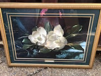 brown wooden framed painting of white flowers Olive Branch, 38654