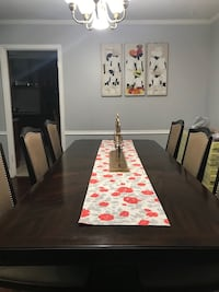 Rectangular brown wooden table with six chairs dining set Bowie, 20715