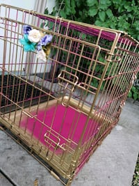 pet cage pink and gold