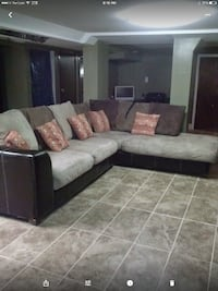 gray and black sectional couch null