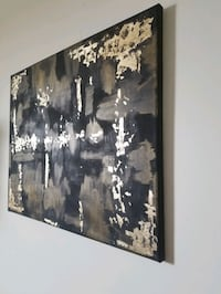Real Gold Infused Foil Abstract Painting Black + Gold Colours Wall Art Markham, L3R 5S1