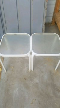 two white metal framed glass-top tables Bakersfield, 93308