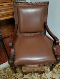 brown wooden framed brown leather padded armchair Springfield, 22150