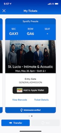 2 tickets for St. Lucia (D.C.) Arlington, 22202