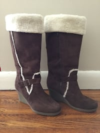 Faux Suede Brown/Shearling Tall Boots, Size 8 Brighton, K0K 1H0