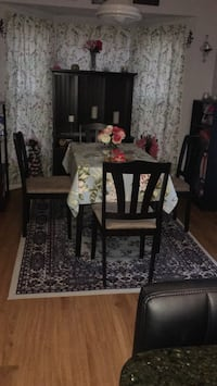 rectangular brown wooden table with chairs dining set Herndon, 20171